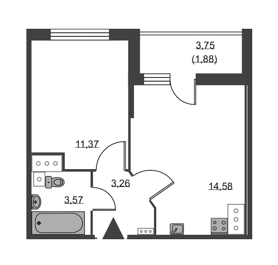 1-комнатная 34 м<sup>2</sup> на 23 этаже
