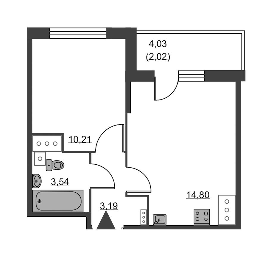 1-комнатная 33 м<sup>2</sup> на 24 этаже