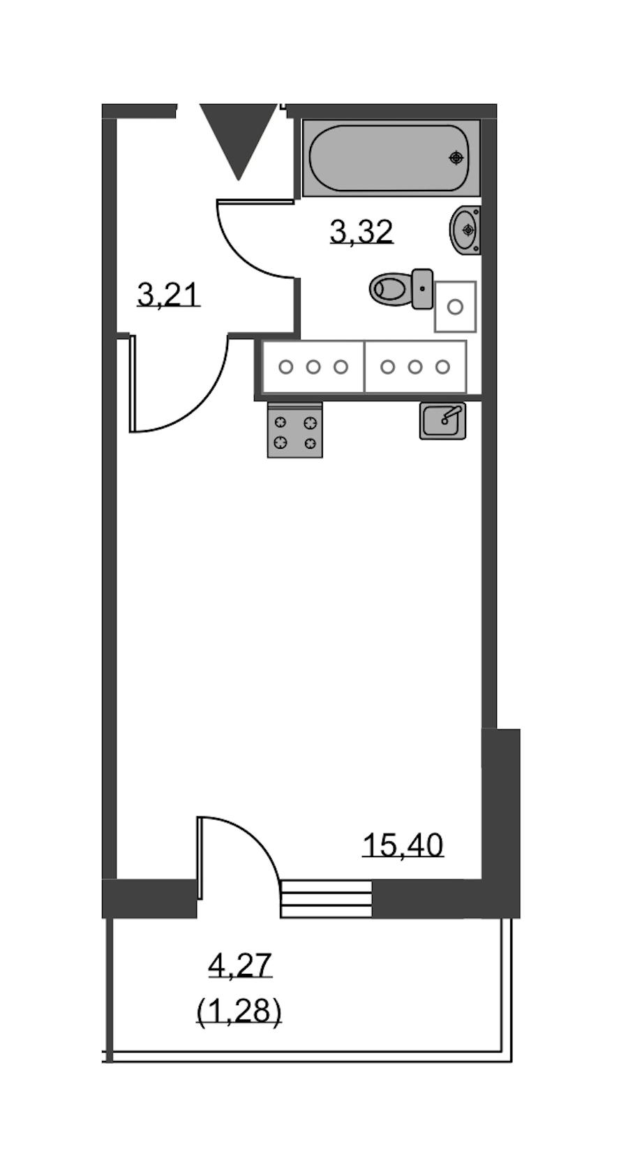 Студия 23 м<sup>2</sup> на 24 этаже