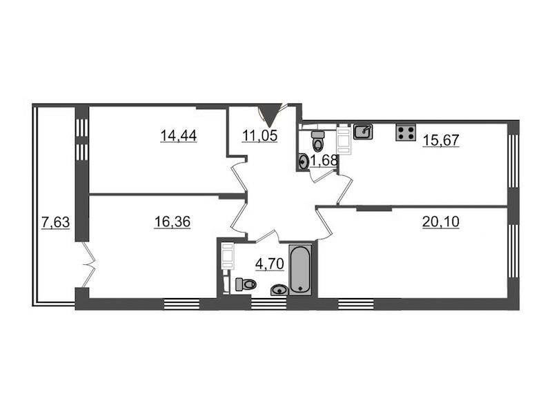 3-комнатная 86 м<sup>2</sup> на 14 этаже