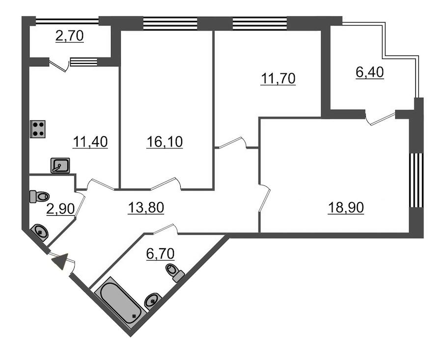 3-комнатная 86 м<sup>2</sup> на 2 этаже