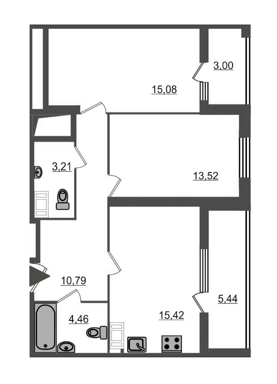 2-комнатная 66 м<sup>2</sup> на 14 этаже