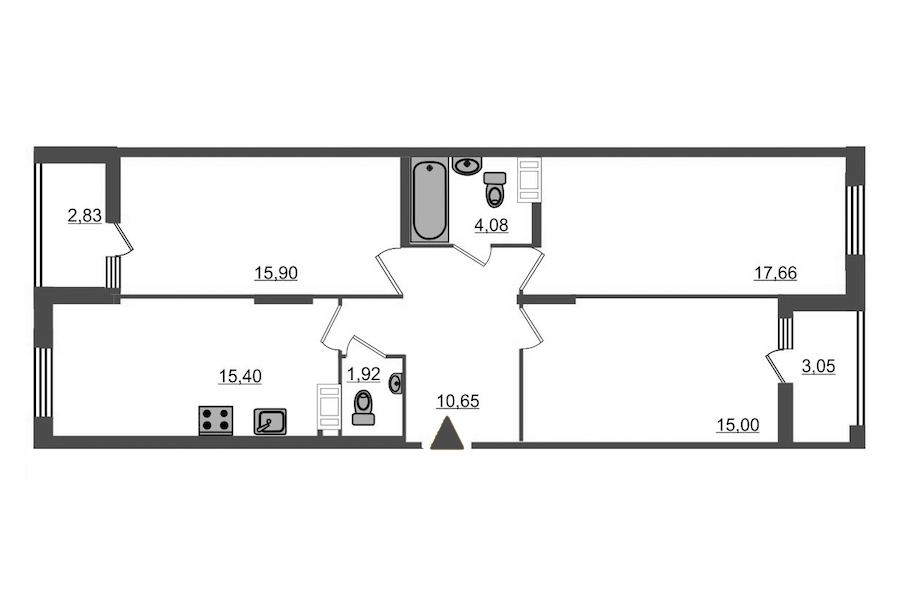3-комнатная 83 м<sup>2</sup> на 13 этаже