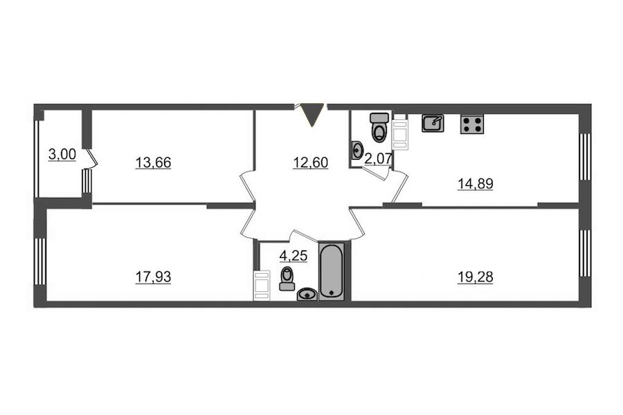 3-комнатная 86 м<sup>2</sup> на 9 этаже