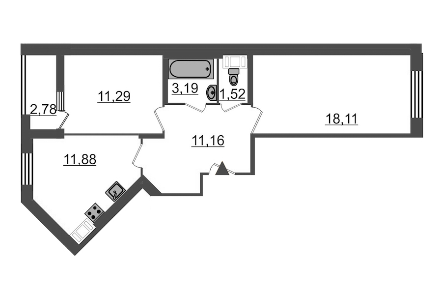 2-комнатная 58 м<sup>2</sup> на 9 этаже