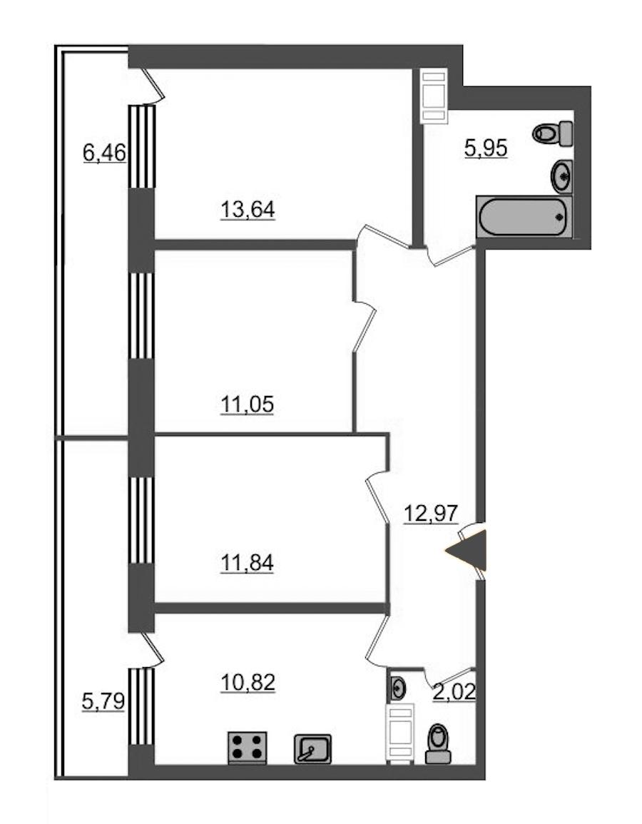3-комнатная 71 м<sup>2</sup> на 12 этаже