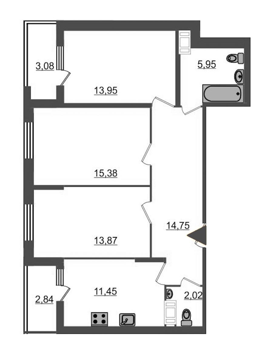 3-комнатная 80 м<sup>2</sup> на 10 этаже