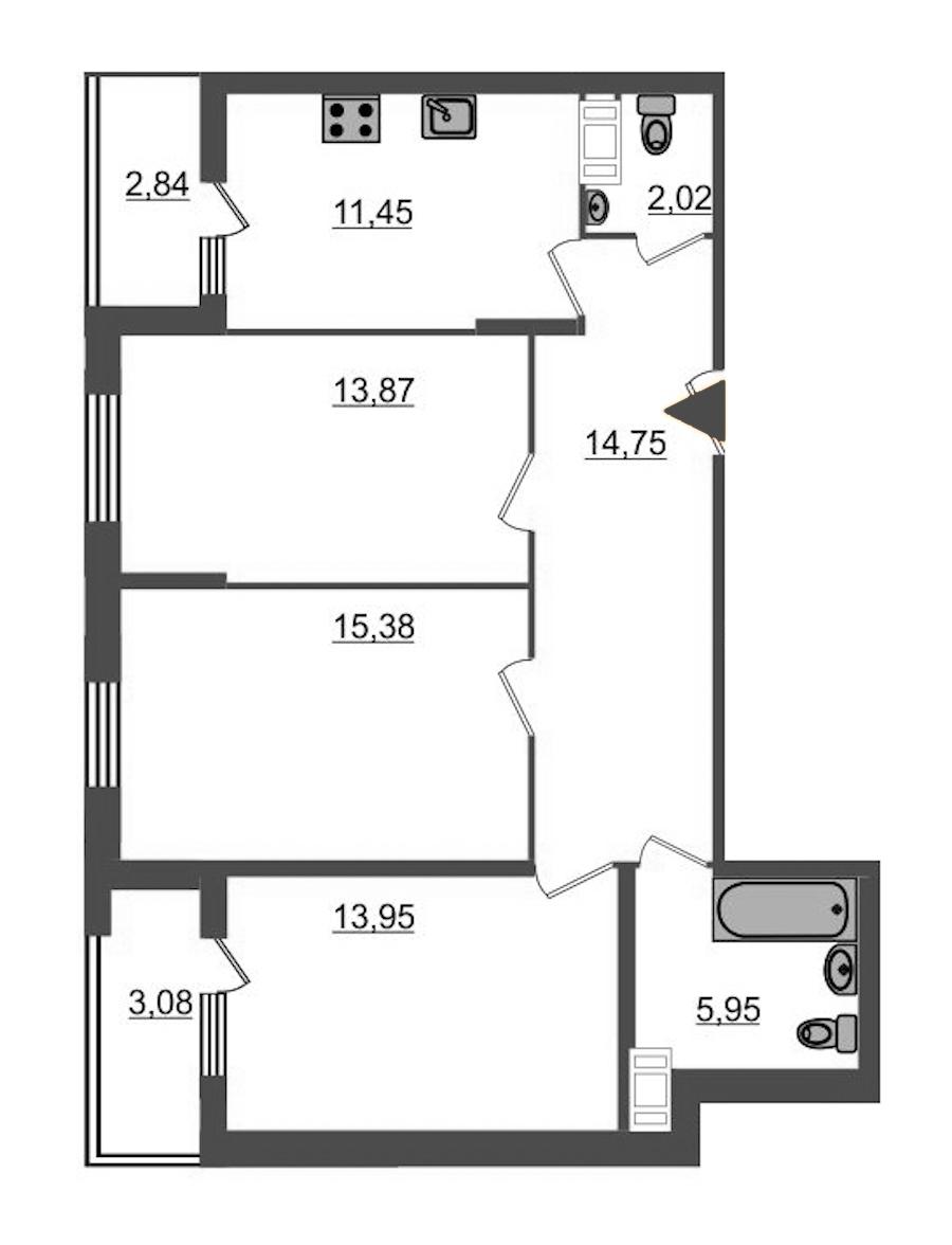 3-комнатная 80 м<sup>2</sup> на 11 этаже