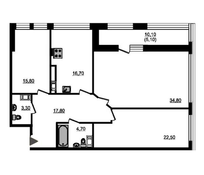 3-комнатная 123 м<sup>2</sup> на 7 этаже