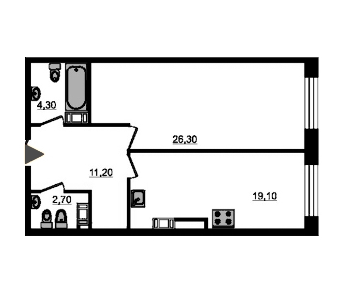1-комнатная 65 м<sup>2</sup> на 8 этаже