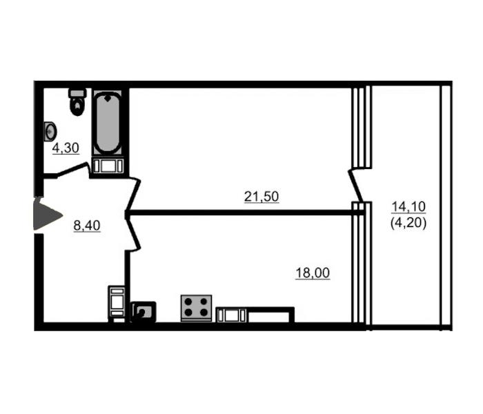 1-комнатная 57 м<sup>2</sup> на 9 этаже
