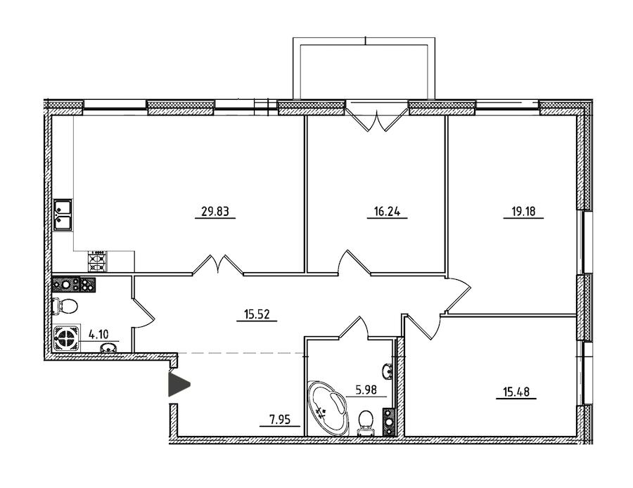 3-комнатная 115 м<sup>2</sup> на 4 этаже