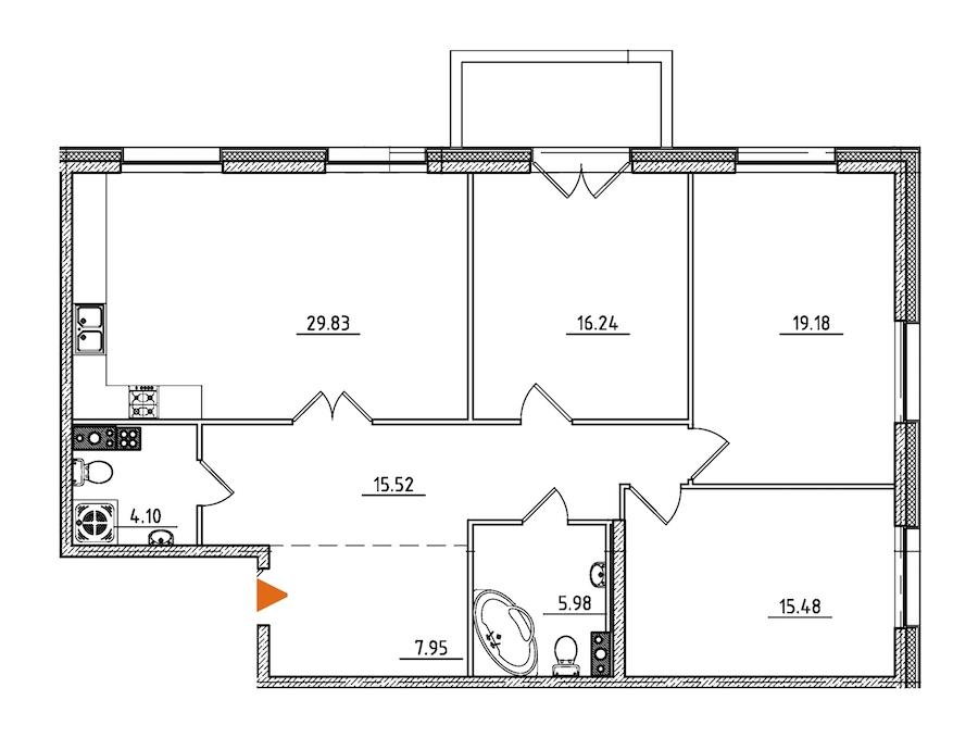 3-комнатная 115 м<sup>2</sup> на 5 этаже