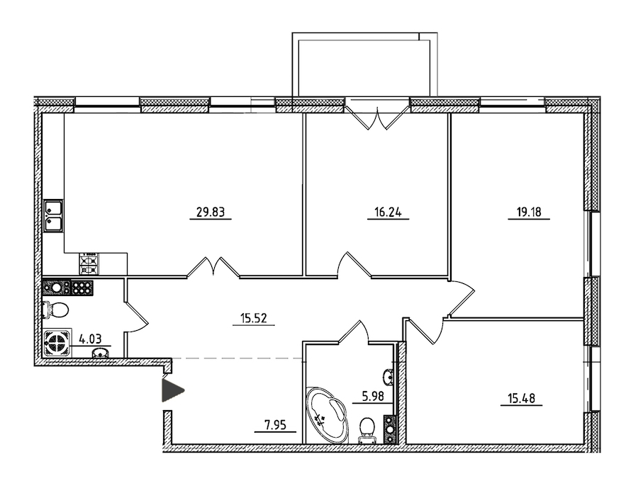 3-комнатная 115 м<sup>2</sup> на 7 этаже