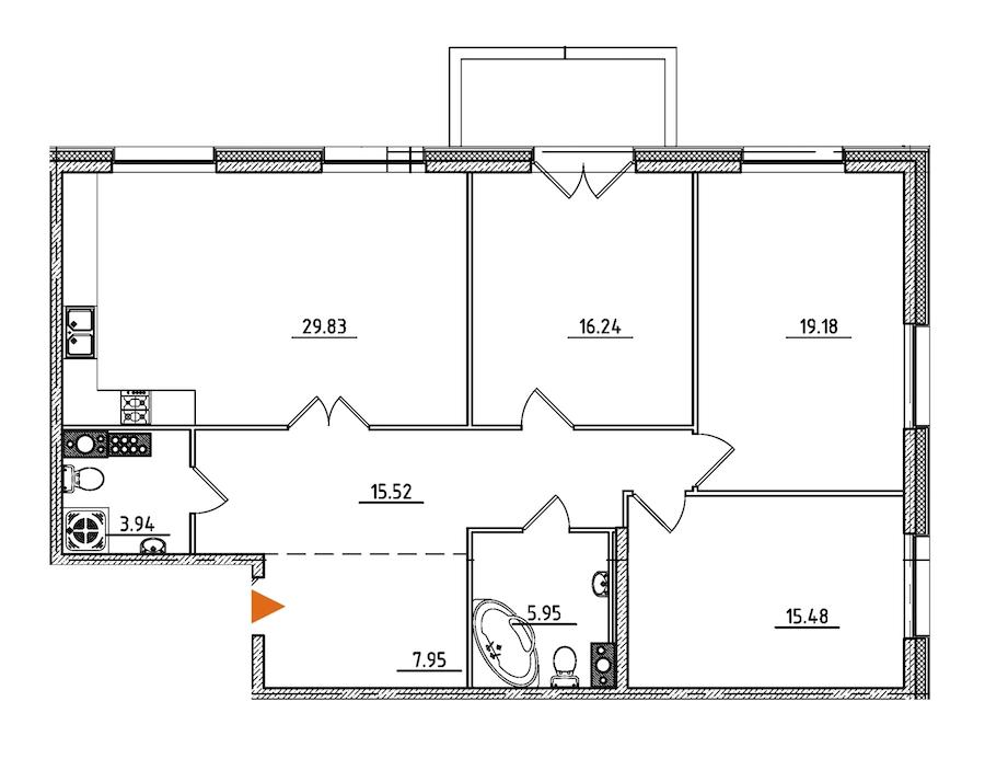 3-комнатная 115 м<sup>2</sup> на 8 этаже