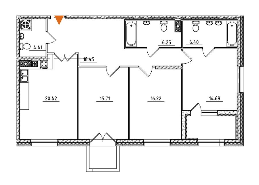3-комнатная 105 м<sup>2</sup> на 4 этаже