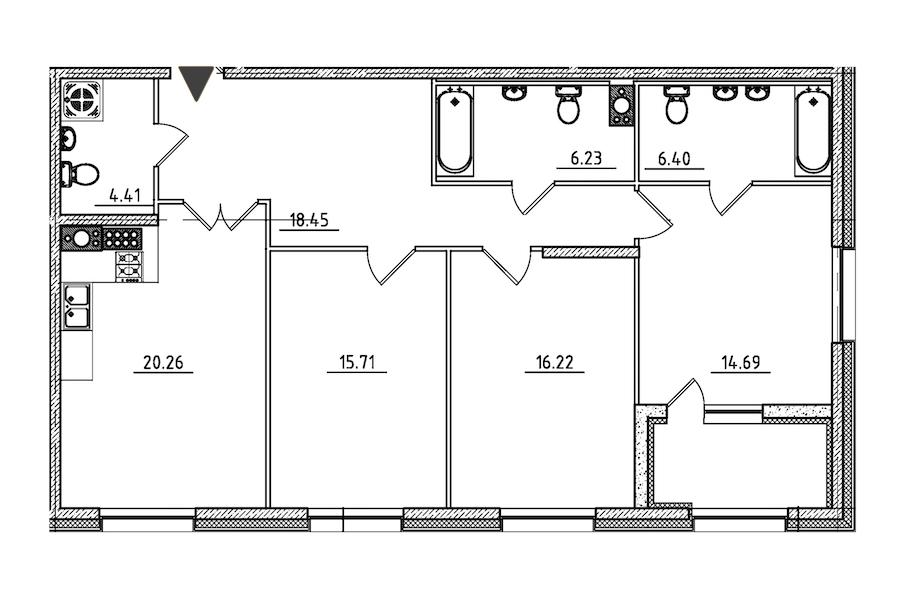 3-комнатная 104 м<sup>2</sup> на 9 этаже