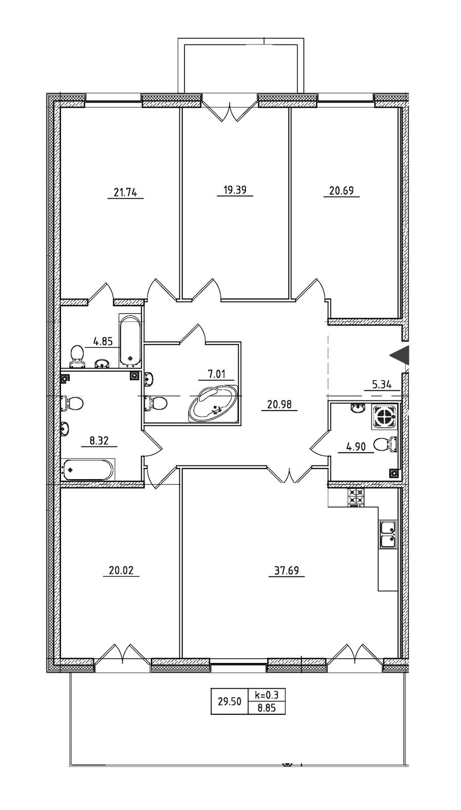 4-комнатная 181 м<sup>2</sup> на 2 этаже