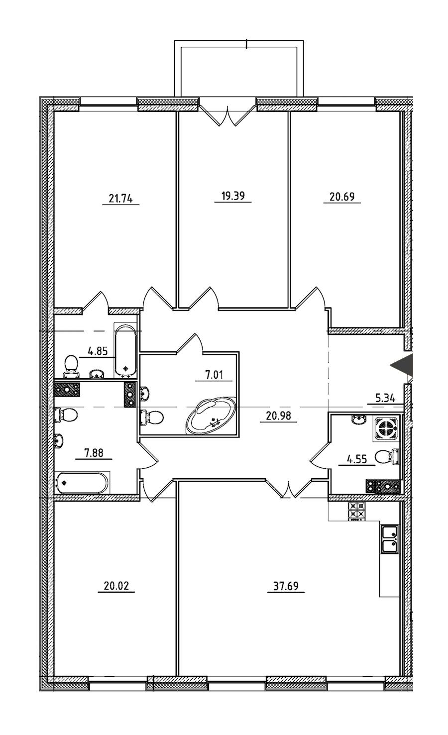 4-комнатная 171 м<sup>2</sup> на 3 этаже