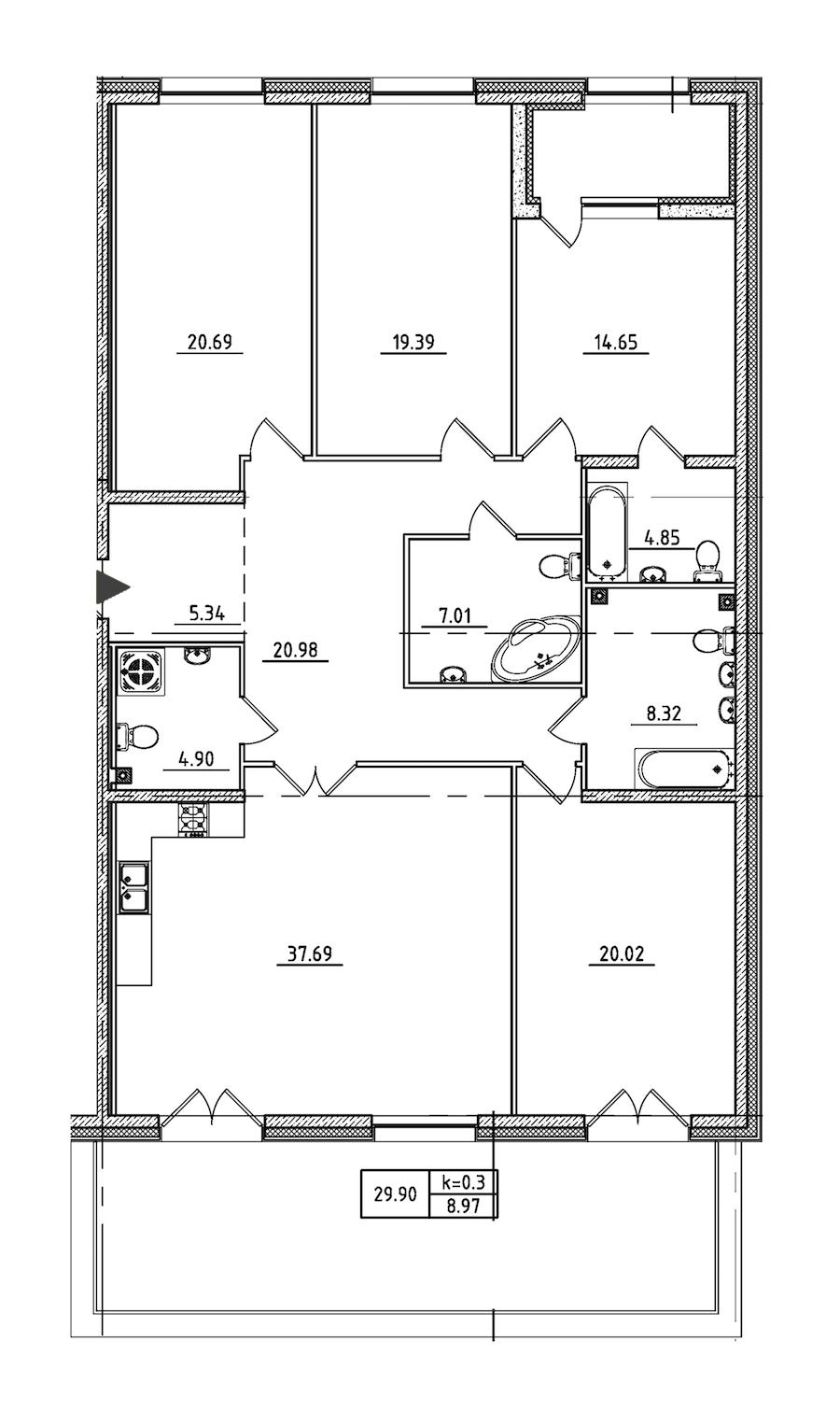 4-комнатная 175 м<sup>2</sup> на 2 этаже