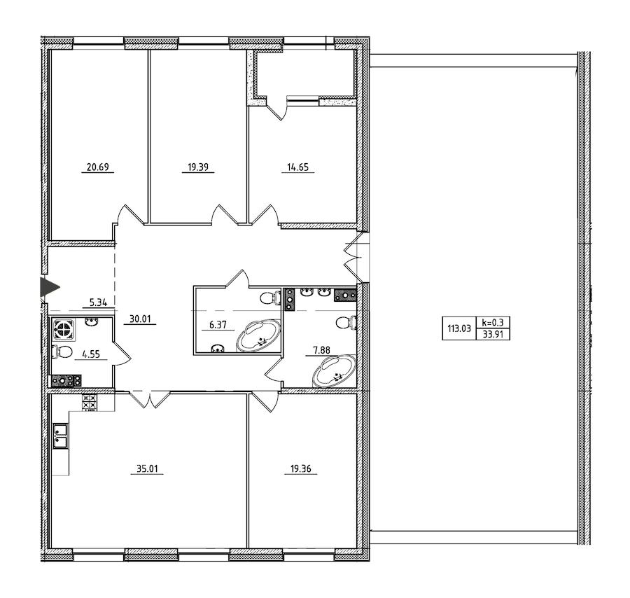4-комнатная 199 м<sup>2</sup> на 3 этаже