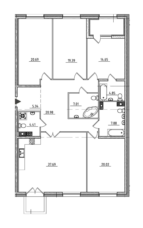 4-комнатная 166 м<sup>2</sup> на 6 этаже