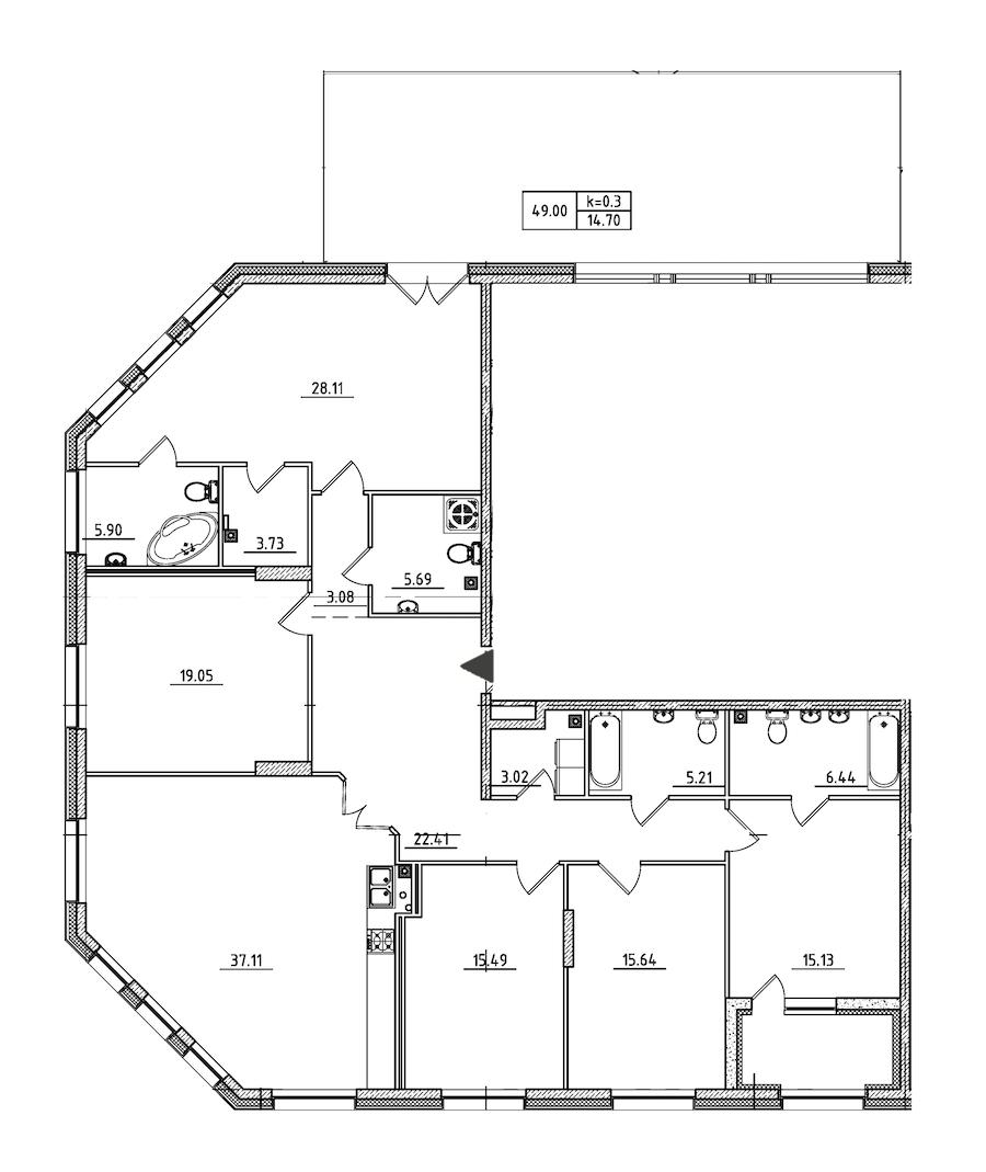 5-комнатная 203 м<sup>2</sup> на 2 этаже
