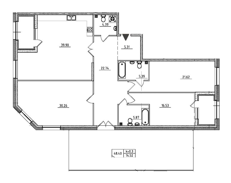 3-комнатная 171 м<sup>2</sup> на 2 этаже