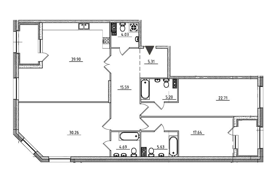 3-комнатная 155 м<sup>2</sup> на 3 этаже