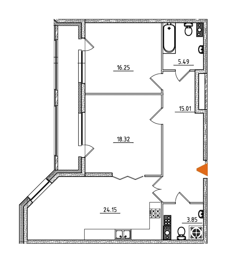 2-комнатная 87 м<sup>2</sup> на 6 этаже
