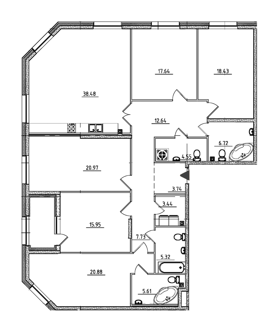 5-комнатная 184 м<sup>2</sup> на 2 этаже
