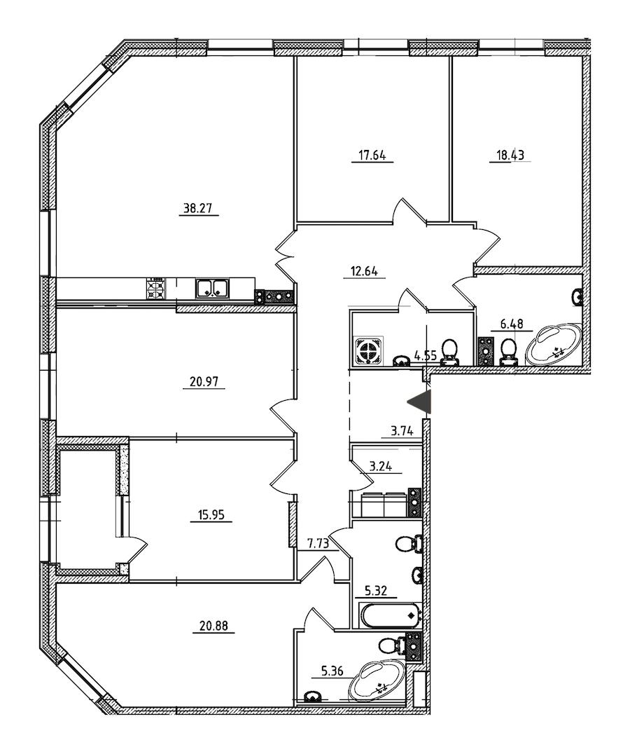 5-комнатная 183 м<sup>2</sup> на 3 этаже