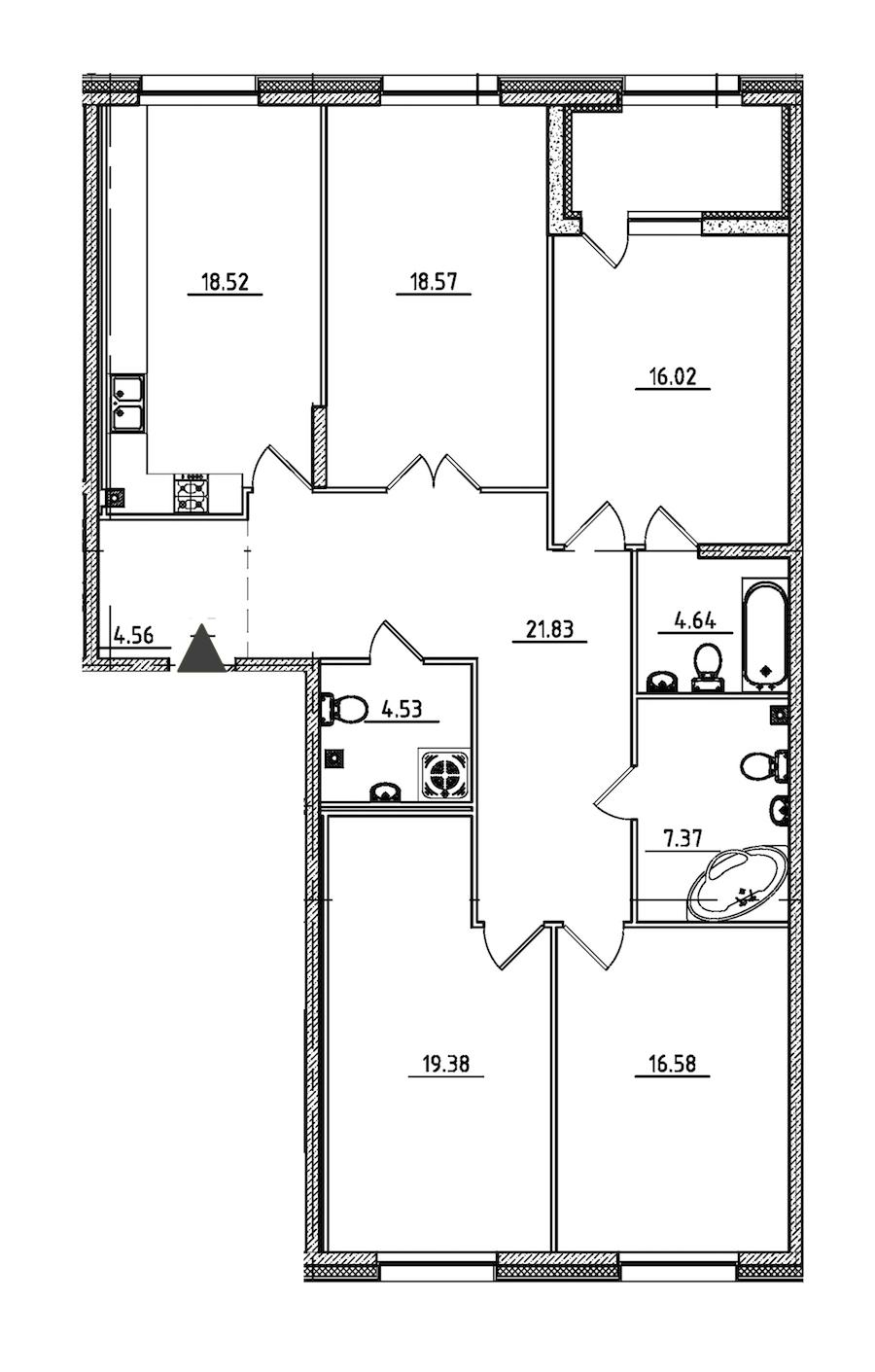 4-комнатная 134 м<sup>2</sup> на 2 этаже