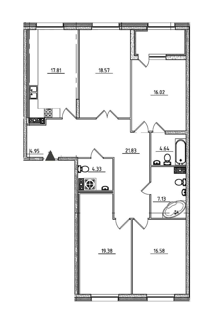 4-комнатная 133 м<sup>2</sup> на 3 этаже