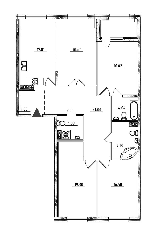 4-комнатная 133 м<sup>2</sup> на 5 этаже