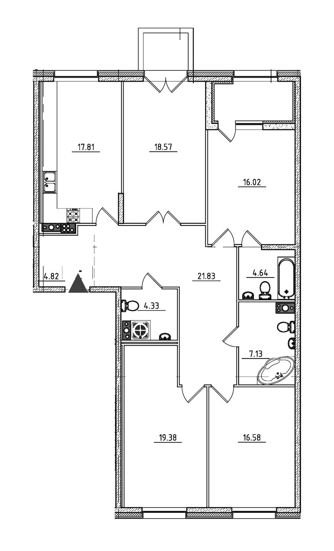 4-комнатная 134 м<sup>2</sup> на 6 этаже