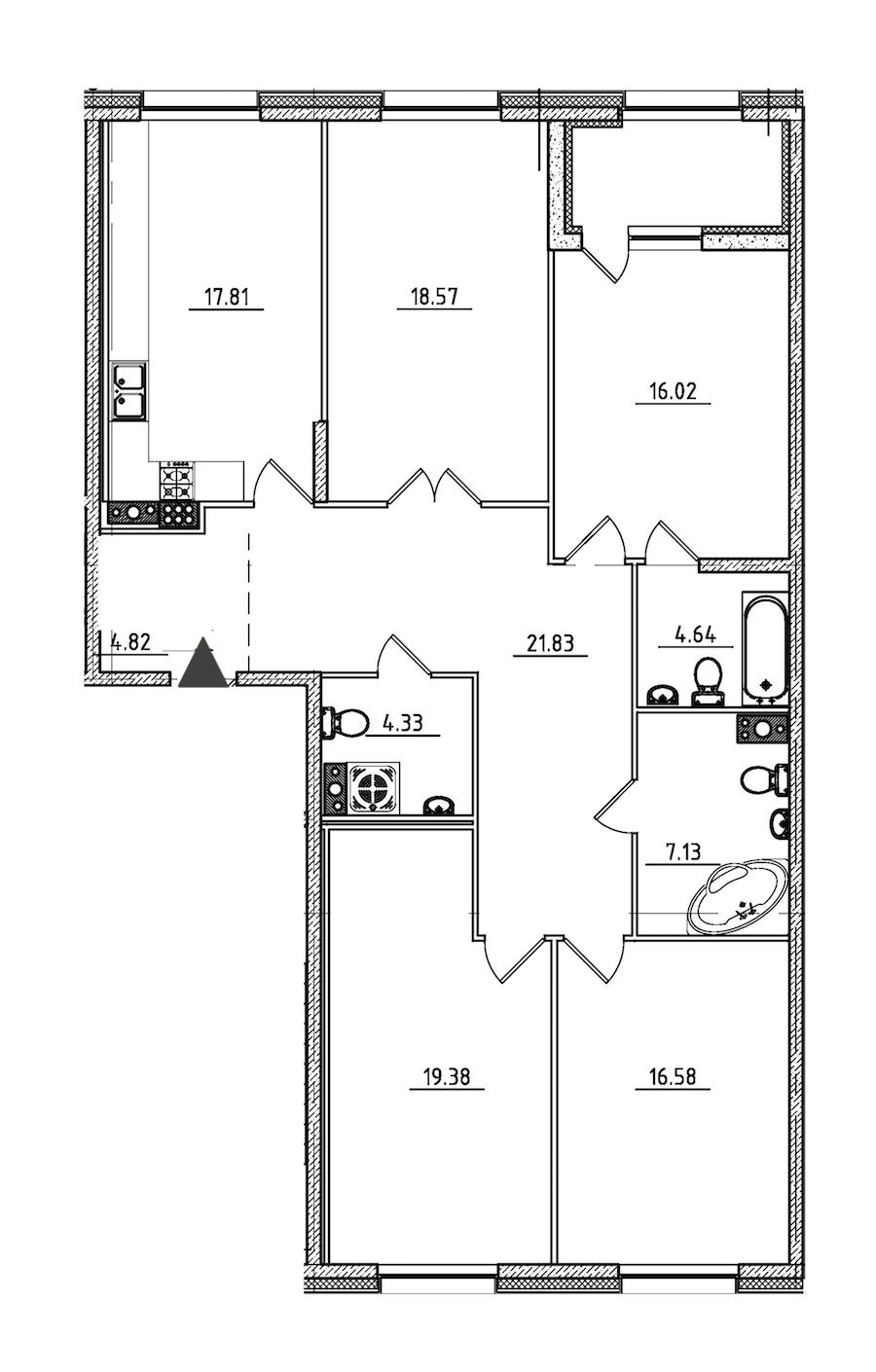 4-комнатная 133 м<sup>2</sup> на 7 этаже
