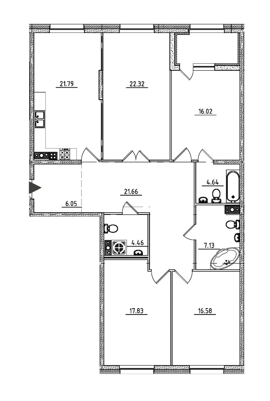 4-комнатная 140 м<sup>2</sup> на 5 этаже