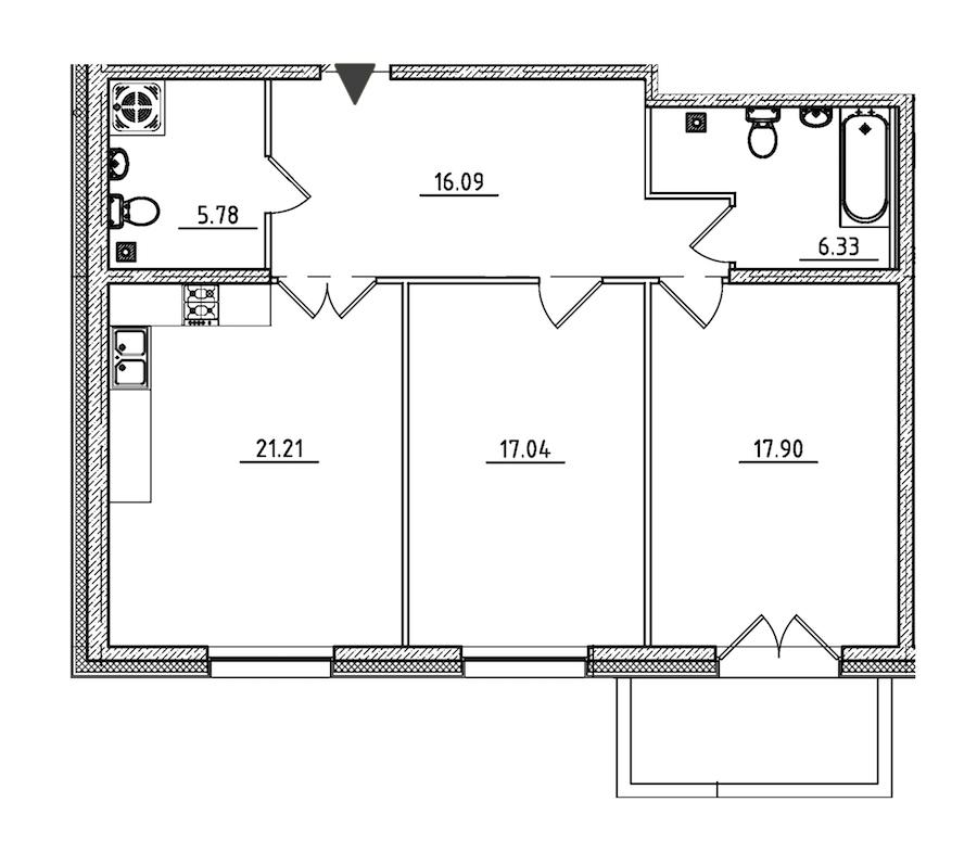 4-комнатная 141 м<sup>2</sup> на 2 этаже