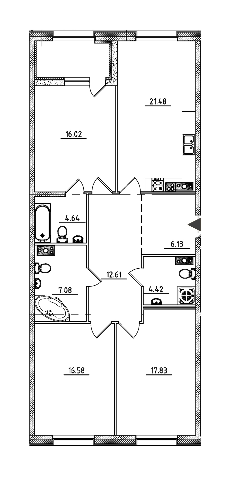 3-комнатная 109 м<sup>2</sup> на 5 этаже