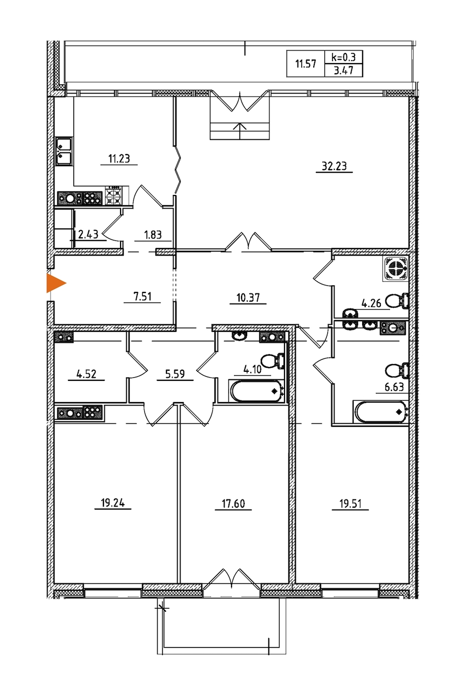 4-комнатная 152 м<sup>2</sup> на 9 этаже