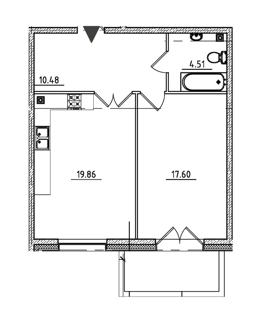 1-комнатная 54 м<sup>2</sup> на 5 этаже