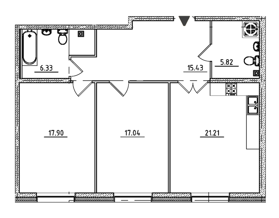 2-комнатная 83 м<sup>2</sup> на 2 этаже