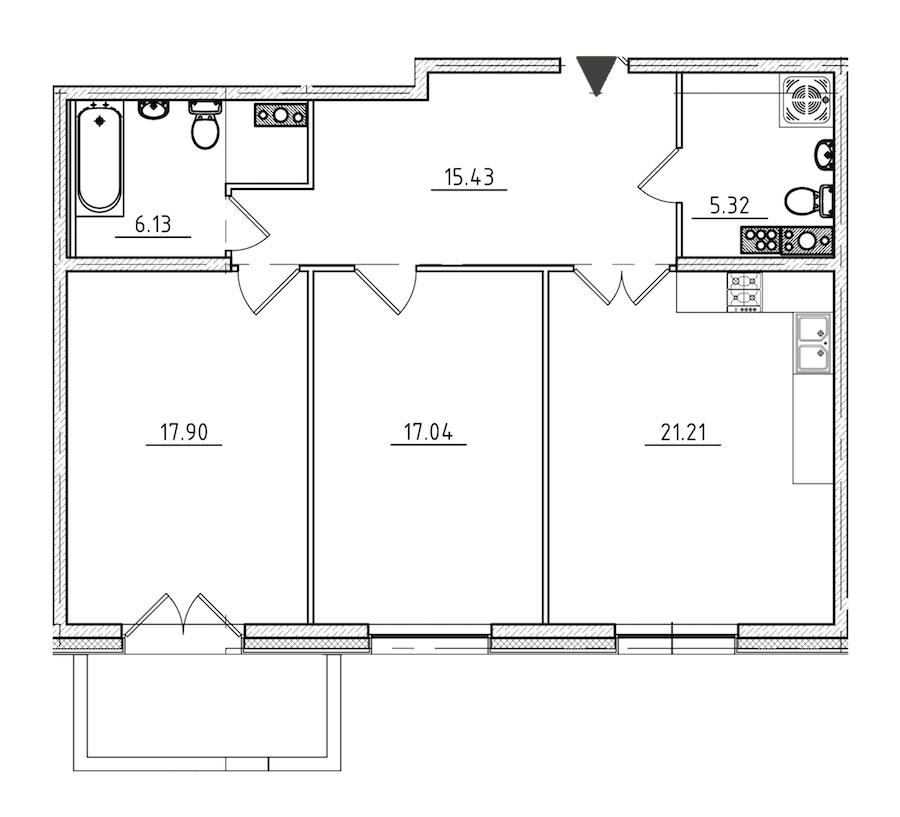 2-комнатная 84 м<sup>2</sup> на 6 этаже