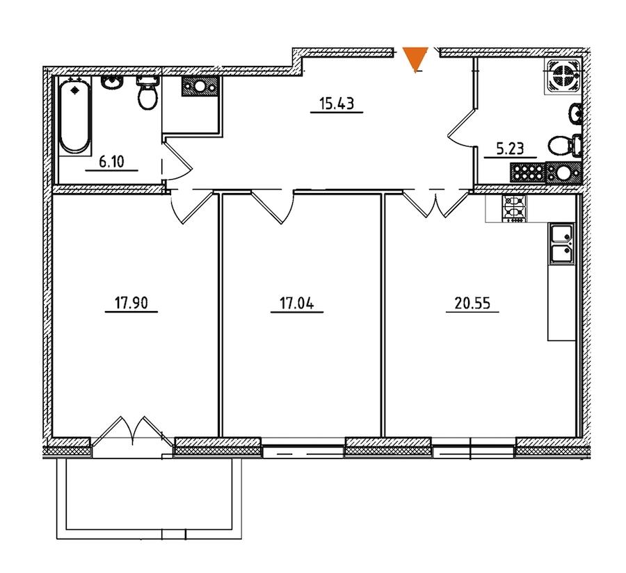 2-комнатная 83 м<sup>2</sup> на 9 этаже