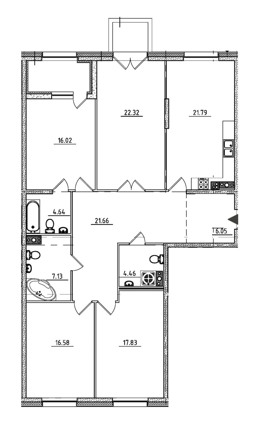 4-комнатная 141 м<sup>2</sup> на 4 этаже
