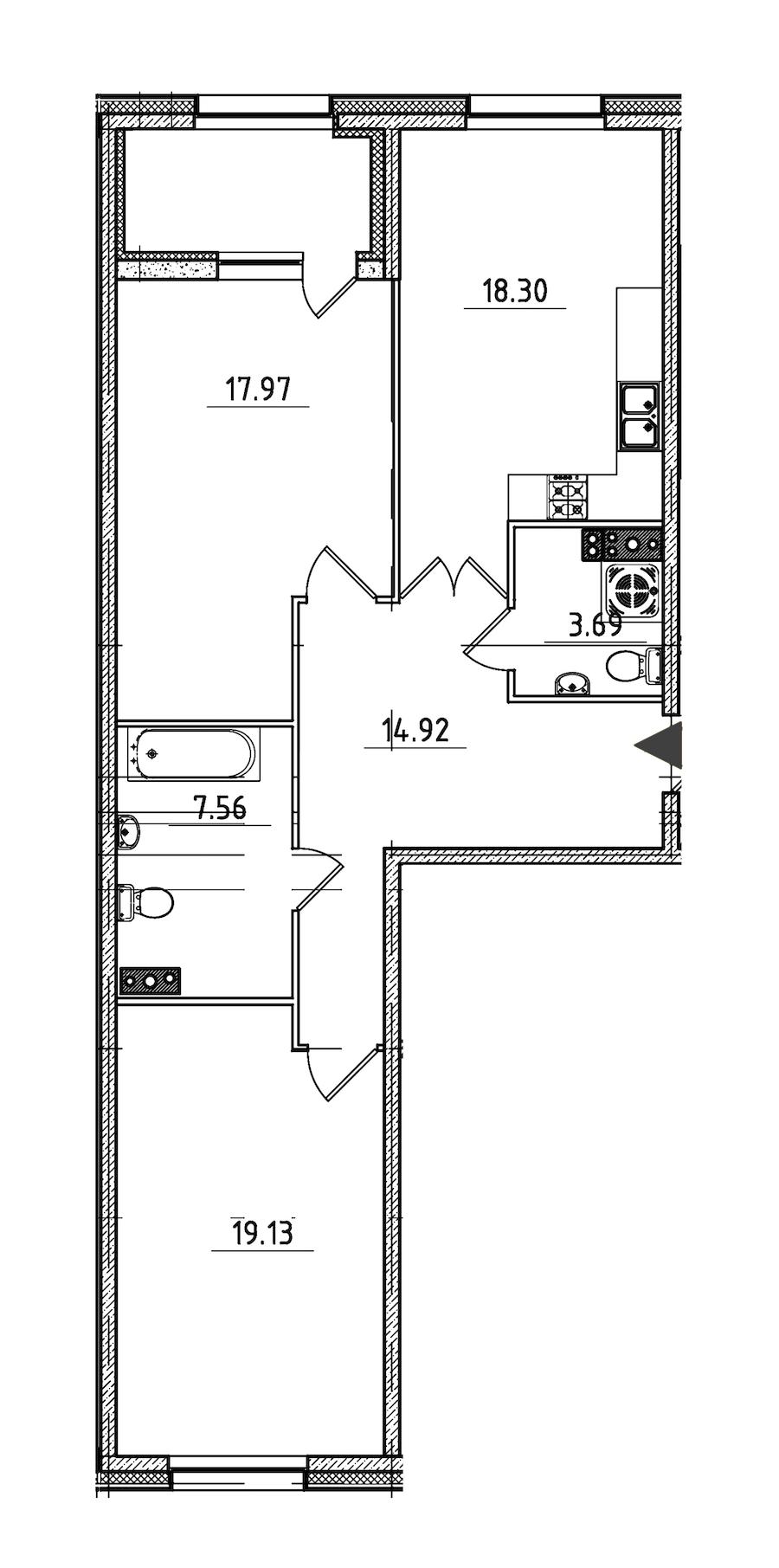2-комнатная 84 м<sup>2</sup> на 3 этаже