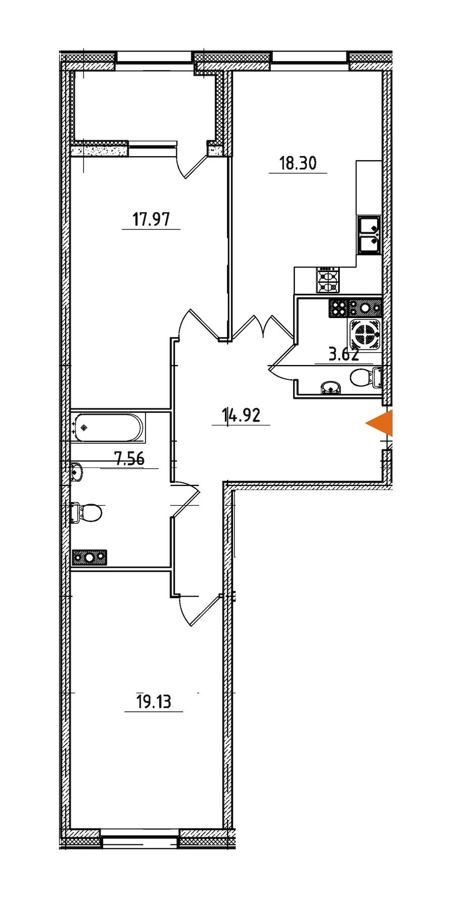 2-комнатная 83 м<sup>2</sup> на 5 этаже