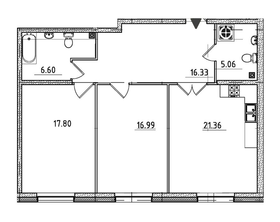 2-комнатная 84 м<sup>2</sup> на 2 этаже