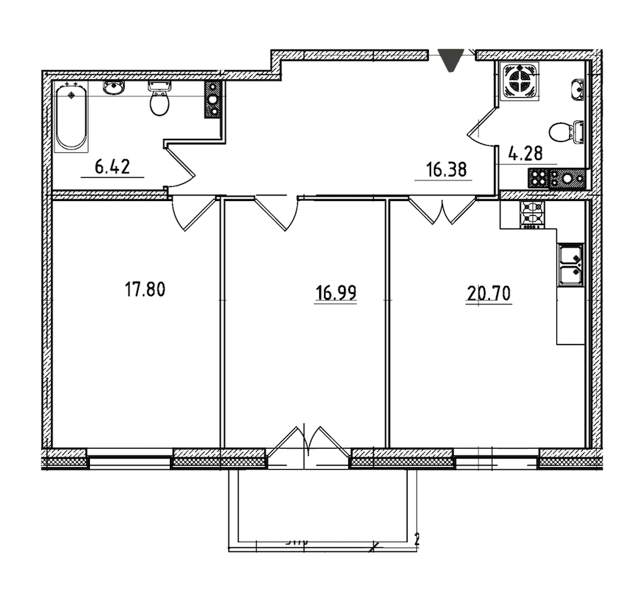2-комнатная 84 м<sup>2</sup> на 5 этаже